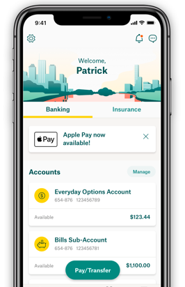 Suncorp mobile app banking overiew screen