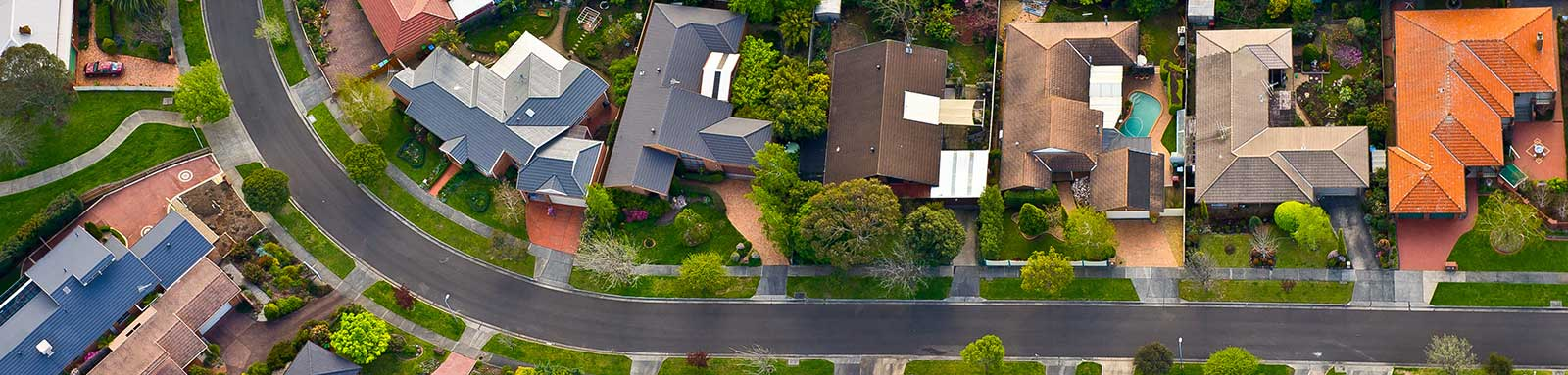 Melbourne suburbs arial view of homes and street