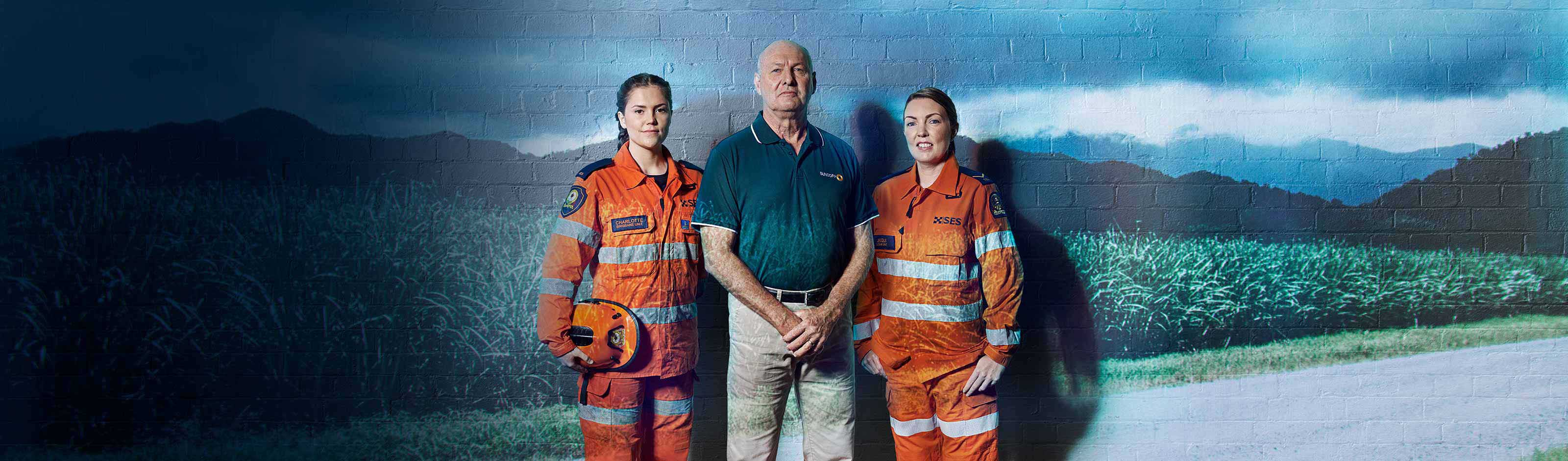 Storm SES staff infront of brick wall